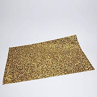 Коврик для маникюра в камни размер 40*24 см золотой