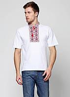 Украинская вышивка крестиком мужская Белая трикотажная футболка с вышивкой