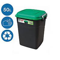 Бак контейнер для мусора Eco Tayg 50л Испания 41х40 h51 см с крышкой и ручками 412035