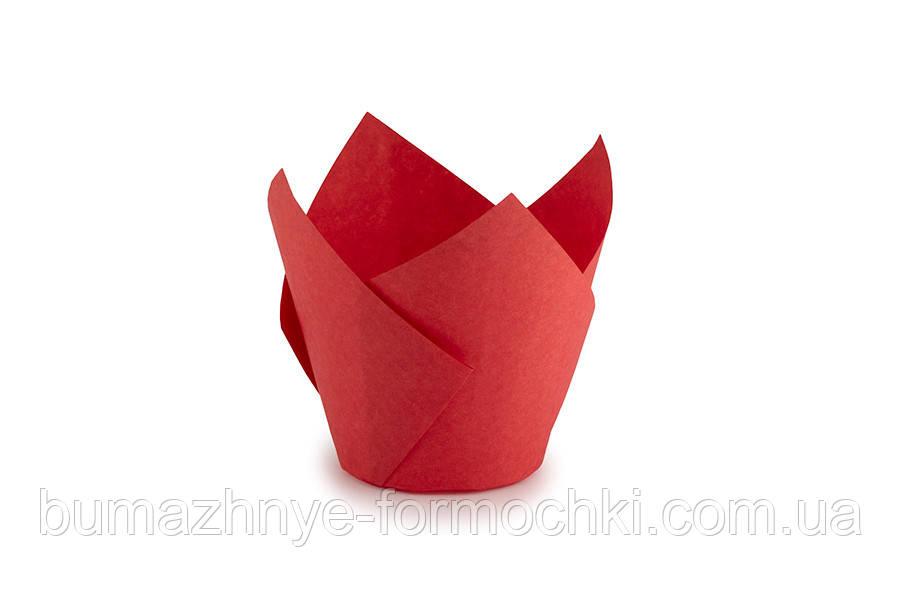 """Червона паперова форма для кексів """"Тюльпан"""","""