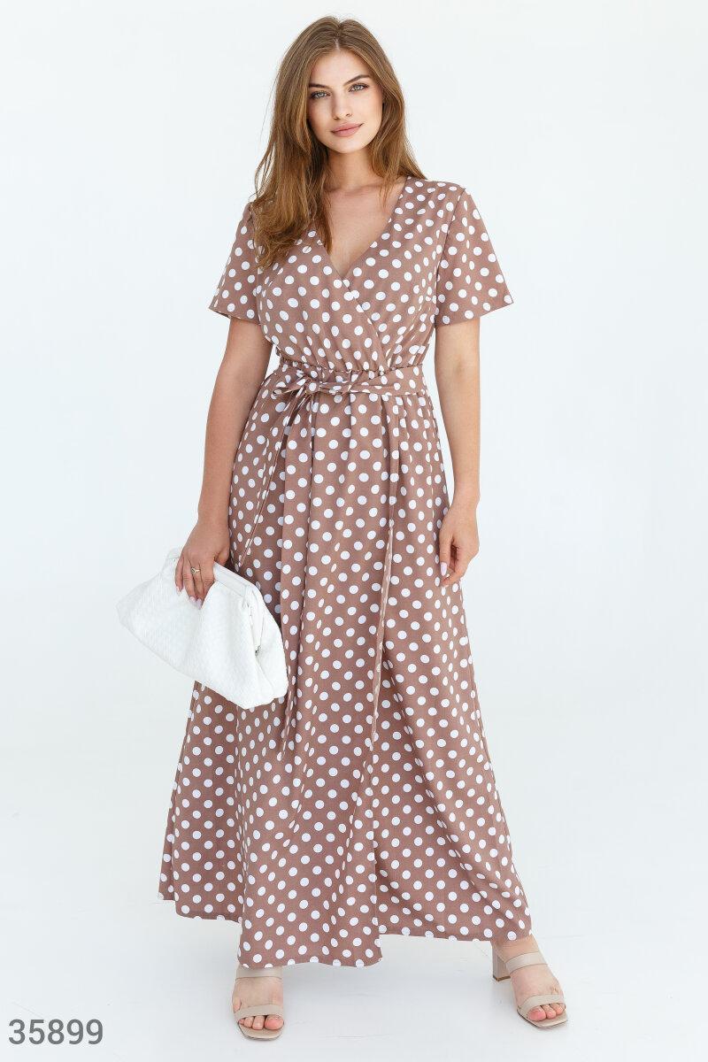 Платье-макси на запах в горошек большого размера