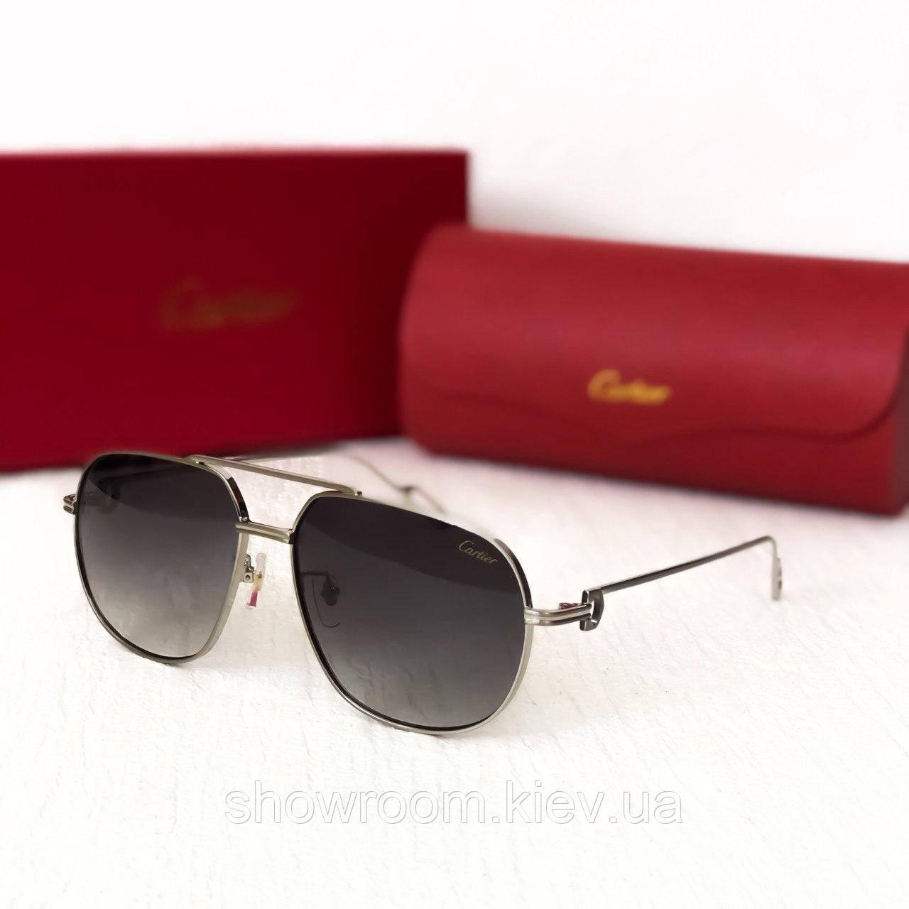 Мужские солнцезащитные очки в стиле Cartier (0111) Lux