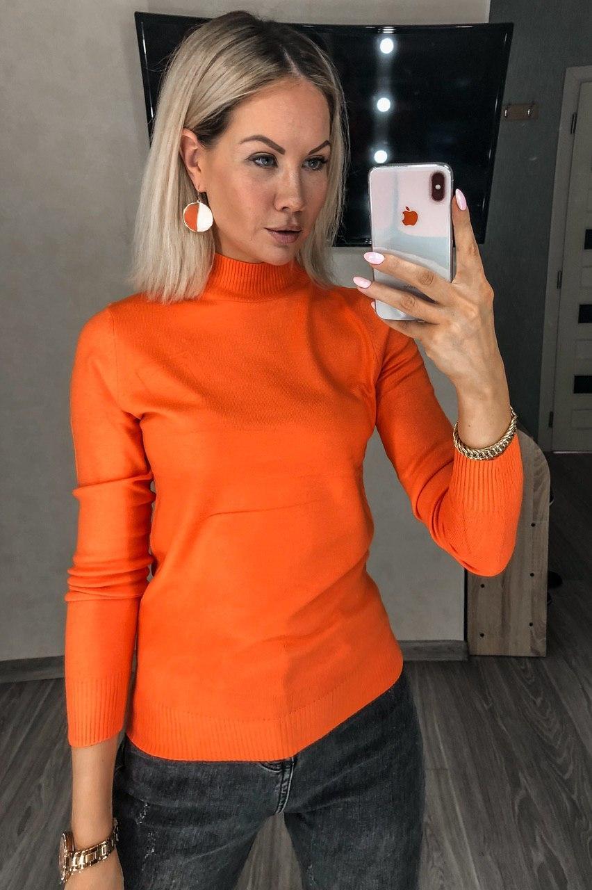 Женская Водолазка-Гольф Базовая, под горло Оранжевый