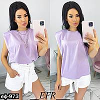 Женская стильная футболка с плечиками, фото 1