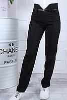 Стильные детские чёрные брюки с поясом на девочку на рост 134-164