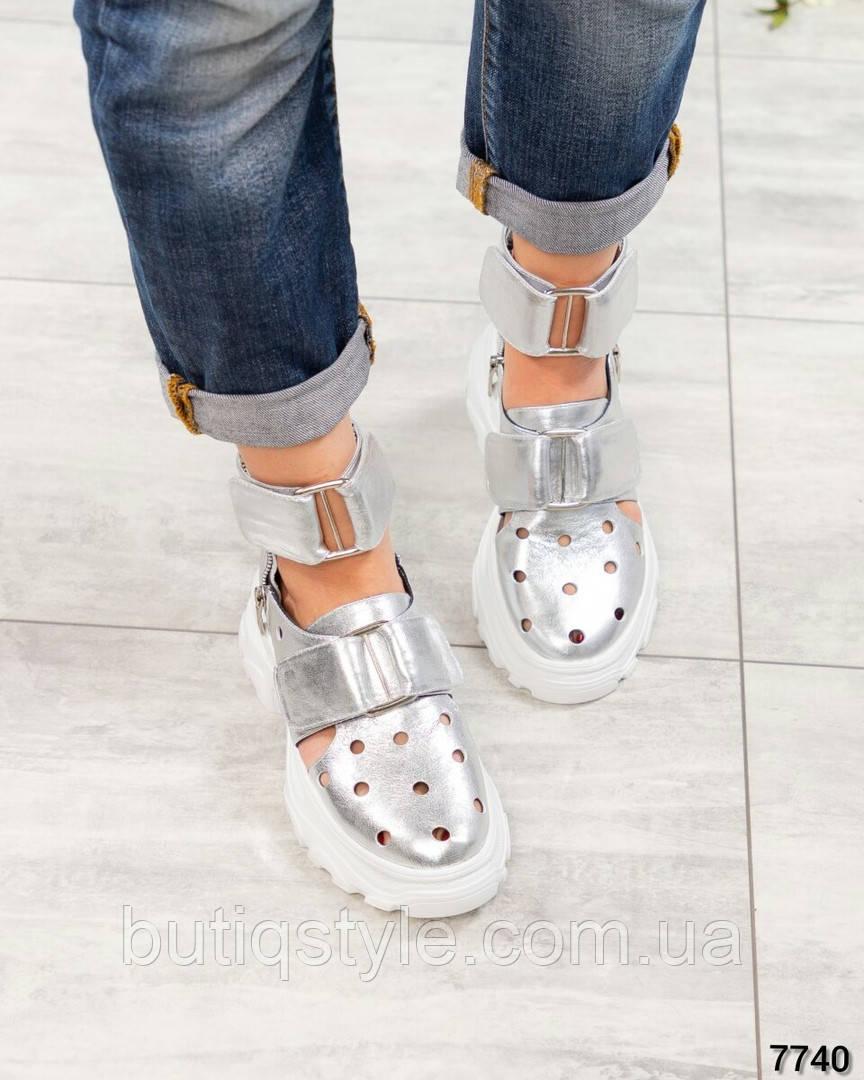 Женские летние серебристые туфли натуральная кожа