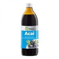 Сок ягод Асаи  без сахара и консервантов 500 мл, EkaMedica