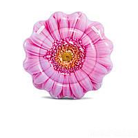"""Пляжный надувной матрас для плавания, плот для отдыха на воде Intex """"Розовый цветок"""", диаметр 142 см"""
