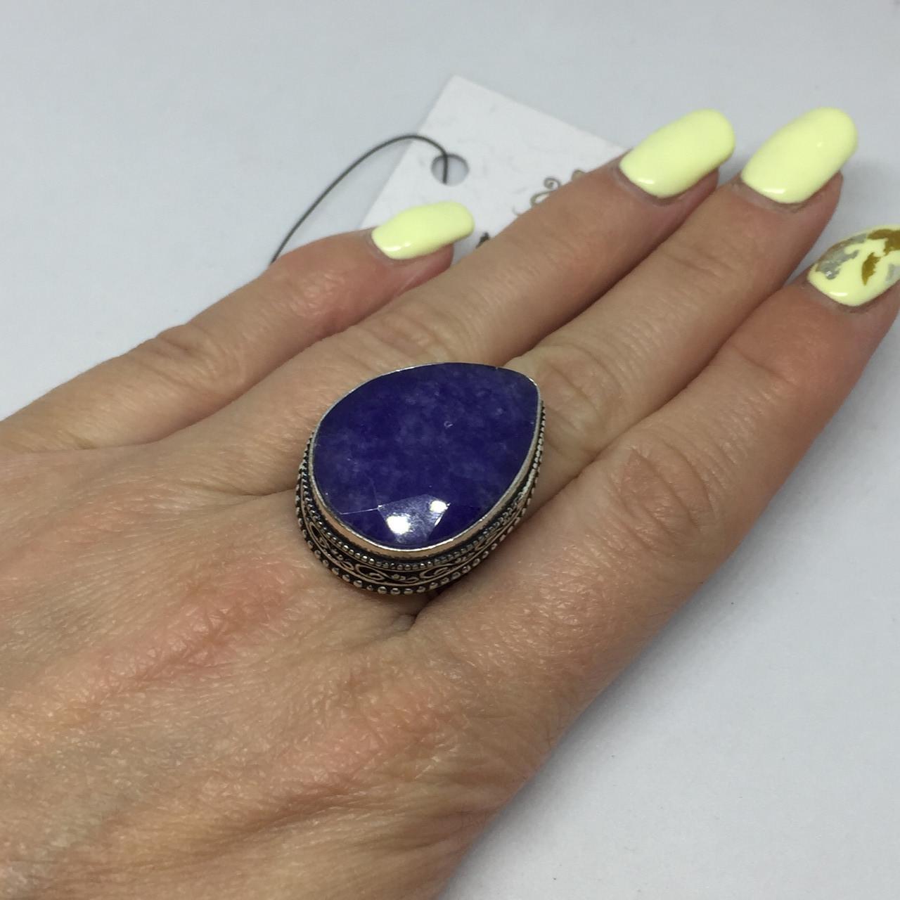 Сапфир кольцо капля 17,5 размер с индийским сапфиром в серебре Индия