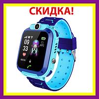 Умные детские смарт часы Smart Watch Kids Q12 GPS с камерой и влагозащитой IP67 Pink-Blue