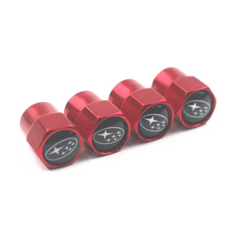 Захисні металеві ковпачки Primo на ніпель, золотник автомобільних коліс з логотипом Subaru - Red
