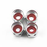 Захисні металеві ковпачки Primo на ніпель, золотник автомобільних коліс з логотипом Subaru - Red, фото 3