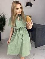 Женское легкое летнее миди платье мелкий горошек размеры 42-46,48-52 Цвета:горчица, фрез, фисташка