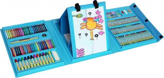 Детский художественный набор для творчества с мольбертом 208 предметов в чемоданчике уценка