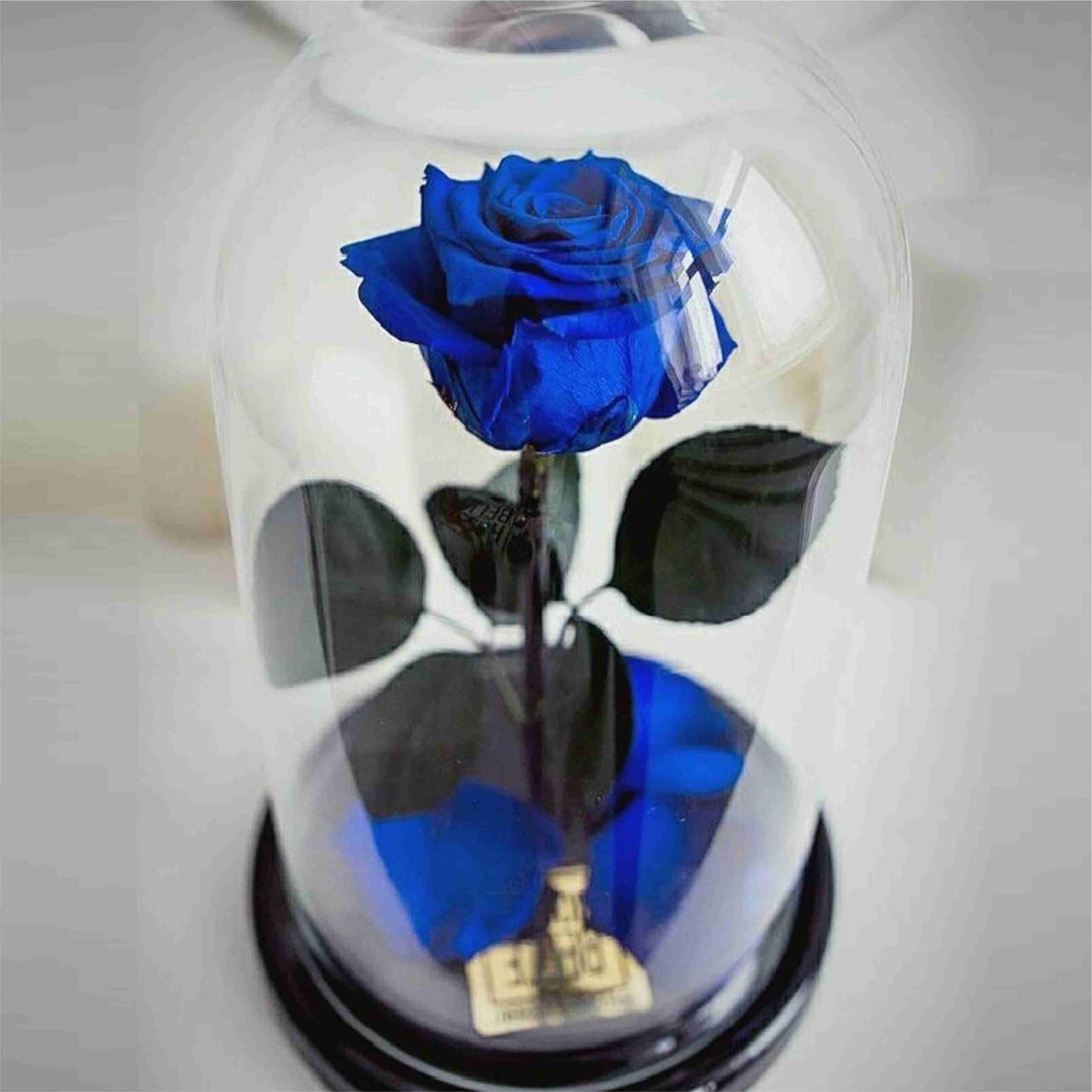 Роза в колбе с LED маленькая синяя Роза-ночник в колбе Роза с подсветкой Роза в колбе с LED