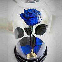 Роза в колбе с LED маленькая синяя Роза-ночник в колбе Роза с подсветкой Роза в колбе с LED, фото 1