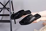 Шлепанцы женские кожа рептилия черные на черной подошве, фото 4