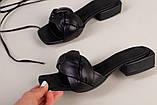 Шлепанцы-босоножки женские кожаные черные с обтянутым каблуком 3,5 см, фото 6