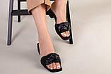Шлепанцы-босоножки женские кожаные черные с обтянутым каблуком 3,5 см, фото 4