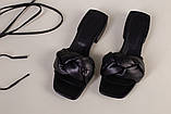 Шлепанцы-босоножки женские кожаные черные с обтянутым каблуком 3,5 см, фото 9