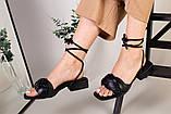 Шлепанцы-босоножки женские кожаные черные с обтянутым каблуком 3,5 см, фото 2
