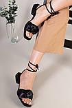 Шлепанцы-босоножки женские кожаные черные с обтянутым каблуком 3,5 см, фото 5