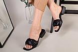 Шлепанцы-босоножки женские кожаные черные с обтянутым каблуком 3,5 см, фото 8
