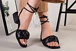 Шлепанцы-босоножки женские кожаные черные с обтянутым каблуком 3,5 см, фото 3