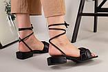 Шлепанцы-босоножки женские кожаные черные с обтянутым каблуком 3,5 см, фото 7