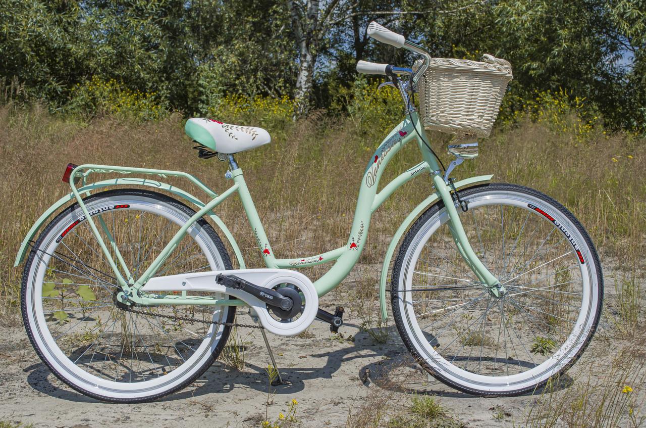 Велосипед женский городской VANESSA 26 mint с корзиной Польша