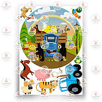 Печать съедобного фото - Вафельная бумага - Синий Трактор №2