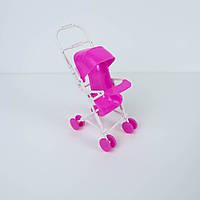 Миниатюра коляска пластик, розово-белая - 16*7 см