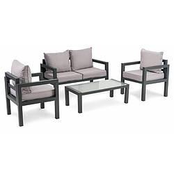 Комплект садовой мебели di Volio Brescia 2 Серый/Светло-серый стол, диван и 2 кресла для дома и сада