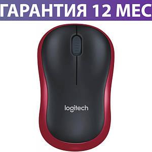 Беспроводная мышка Logitech M185, черная/красна, USB, 1000 dpi, 3 кнопки, 1xAA, мышь для ноутбука логитек