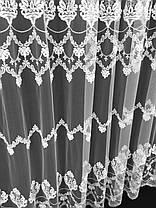 """Тюль вышивка """"Нарни"""", Белая (Высота до 310см), фото 3"""