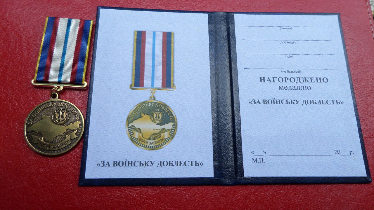Медаль За воїнську доблесть морська піхота з документом