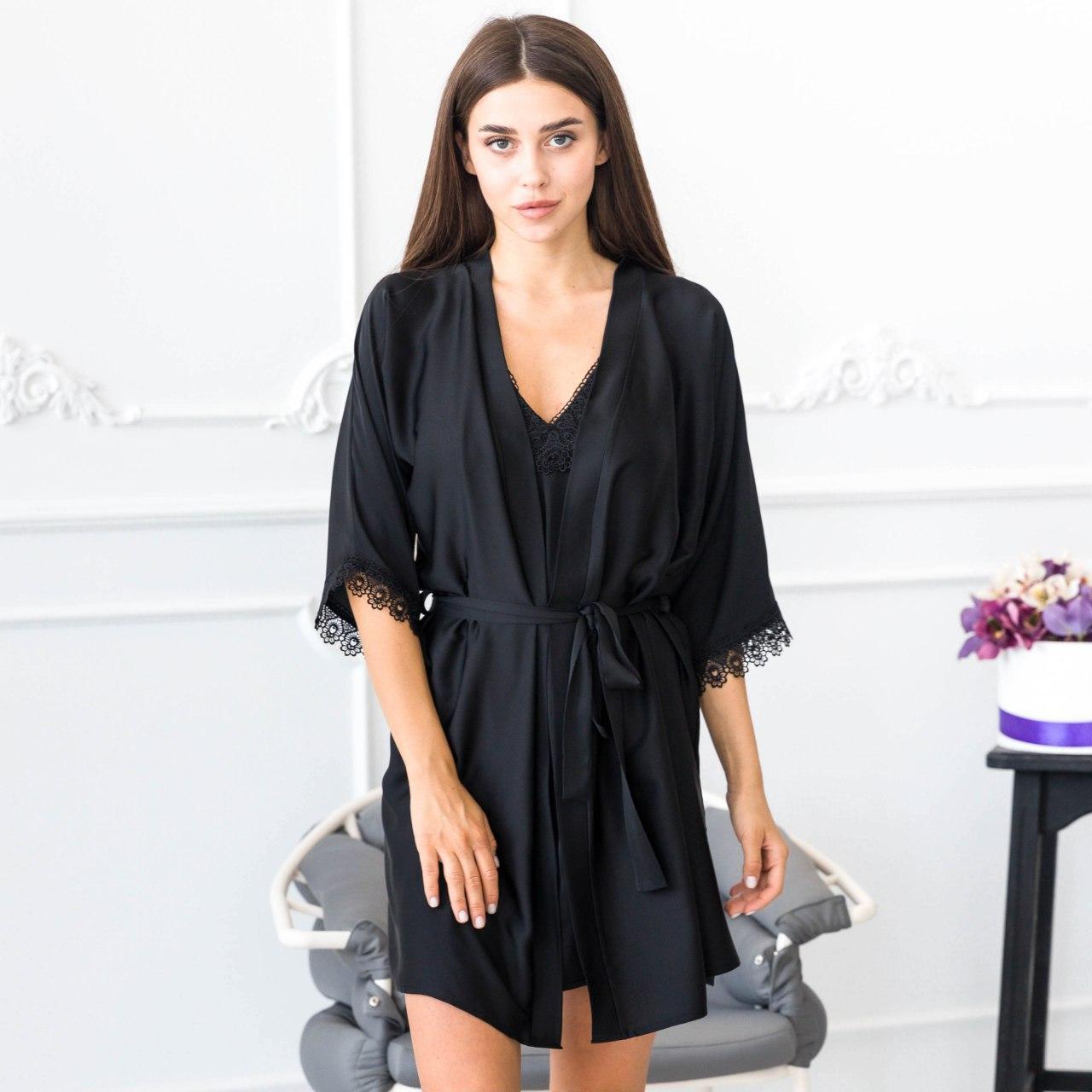 Халат жіночий з ремінцем шовк Армані Чорний