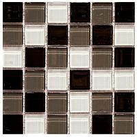 Мозаика черно белая стекло на сетке K40-299526
