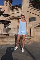 Женский стильный лёгкий летний костюм шорты и блузка на брителях  цвета: голубой, молоко, олива, горчица
