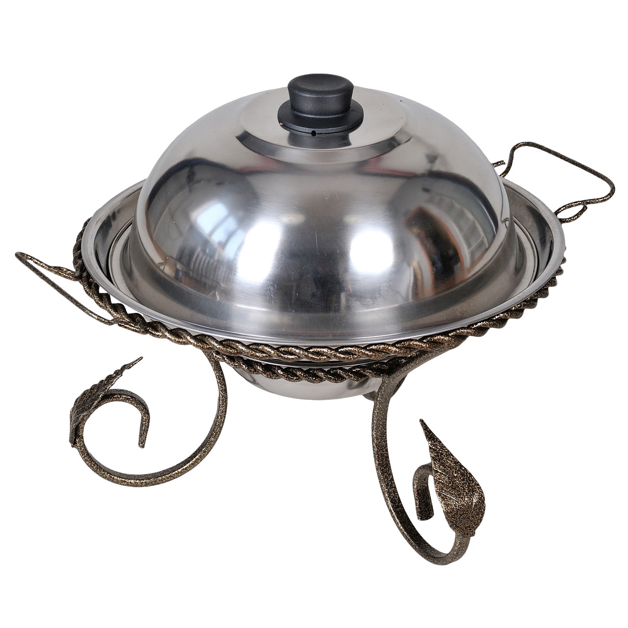 Подставка для подогрева мяса шашлыка Садж с коваными элементами 360 мм + крышка
