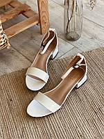 Босоножки на широком каблуке с открытым носочком, Белый, 39 (3291)