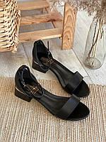 Босоножки на широком каблуке с открытым носочком, Черный, 40 (3297)