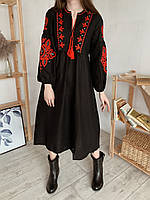 Платье вышиванка, Черный (2224)