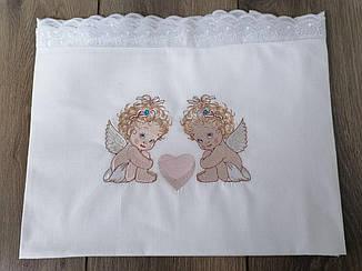 Крижма дитяча Волинські візерунки для хрещення з ангелятами 115*115 біла