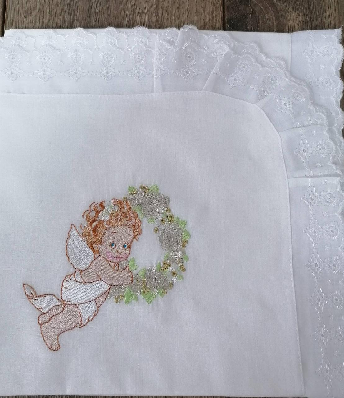 Крижма дитяча Волинські візерунки для хрещення з янголятком 115*115 біла