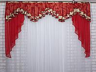 Ламбрекен из плотной ткани №131 Цвет бежевый. Код: 131л062(Б)