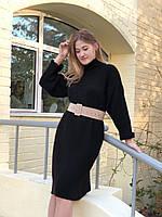 Платье-свитер с высокой горловиной однотонное, Черный (2220)