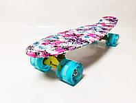 "Пенни Борд Penny Board ""Розовые Маки"" Светящиеся колеса"
