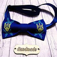 Вишитий метелик-краватка  для чоловіків (ручна робота)  - Тризуб, фото 1