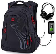Городской молодежный рюкзак для подростков с ортопедической спинкой черный c красным с usb портом для парней Winner one для студентов (395-7 R)